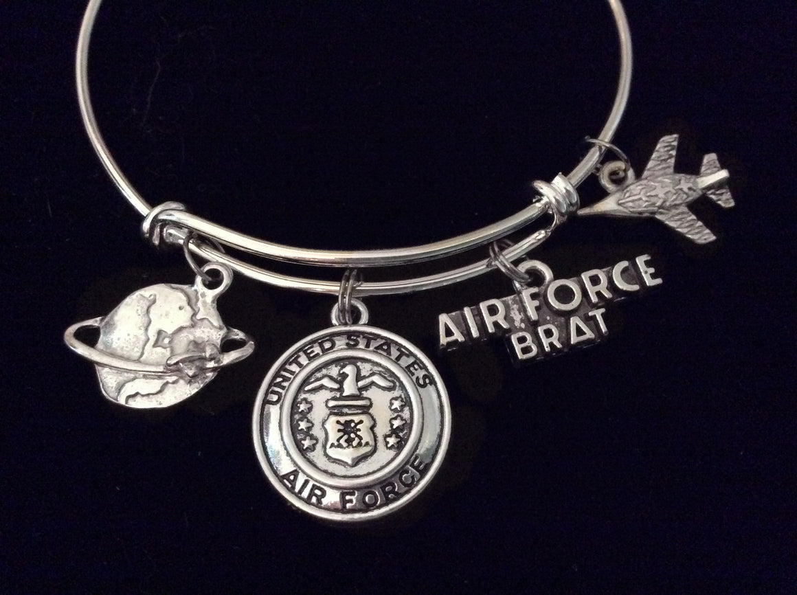 Air Force Brat Expandable Charm Bracelet Adjustable Bangle Gift USA Military Jewelry Plane Fighter Jet