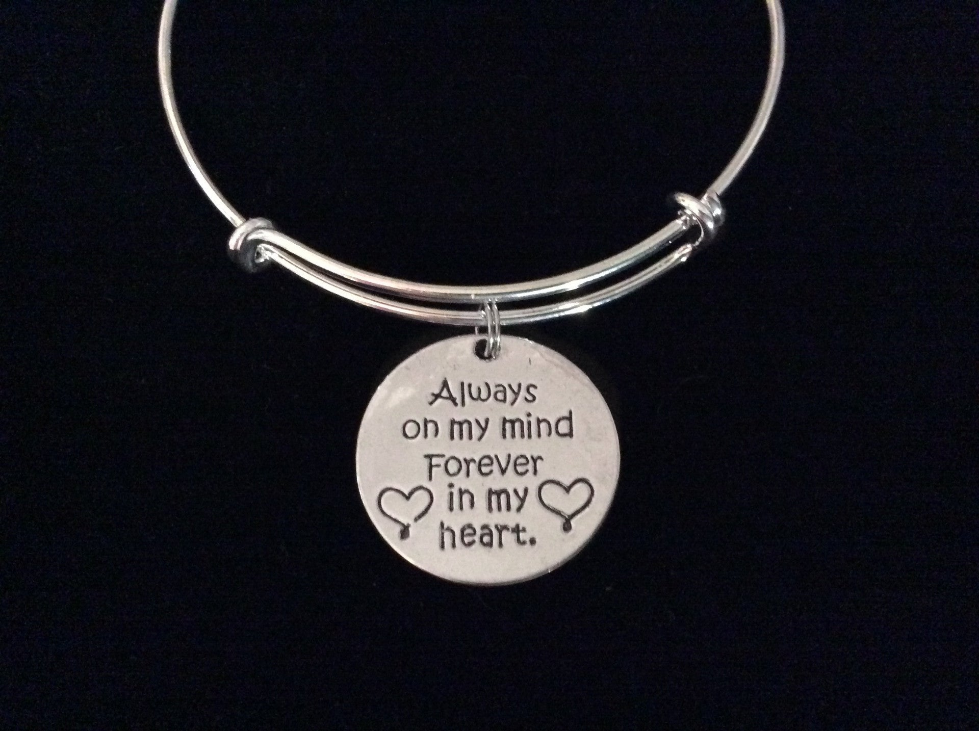 6b21e6f9b541e Always on My Mind Forever in My Heart Expandable Charm Bracelet Adjustable  Wire Bangle Silver Memorial Gift
