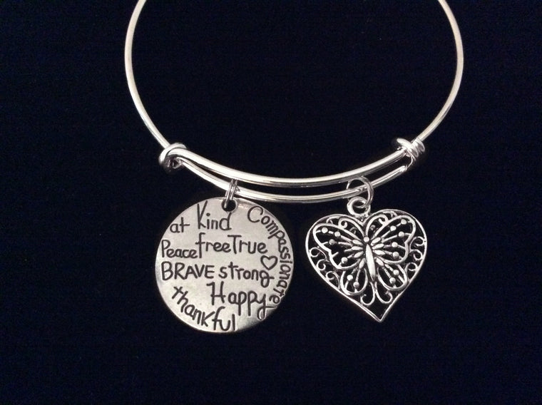 Affirmation Butterfly Expandable Charm Bracelet Silver Adjustable Wire Bangle Trendy Gift