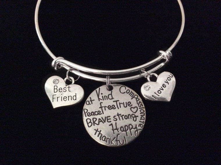 Best Friend I Love You Expandable Charm Bracelet Silver Adjustable Wire Bangle Trendy Gift
