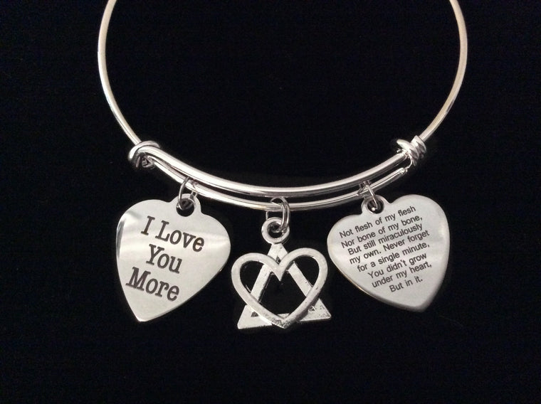 Adoption Poem Expandable Charm Bracelet Silver Adjustable Bangle Gift I Love You More Adopt