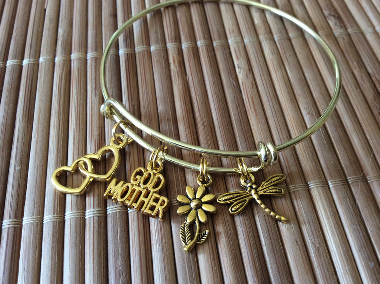 Gold Godmother Expandable Charm Bracelet Adjustable Wire Bangle Gift Double Hearts Dragonfly Daisy