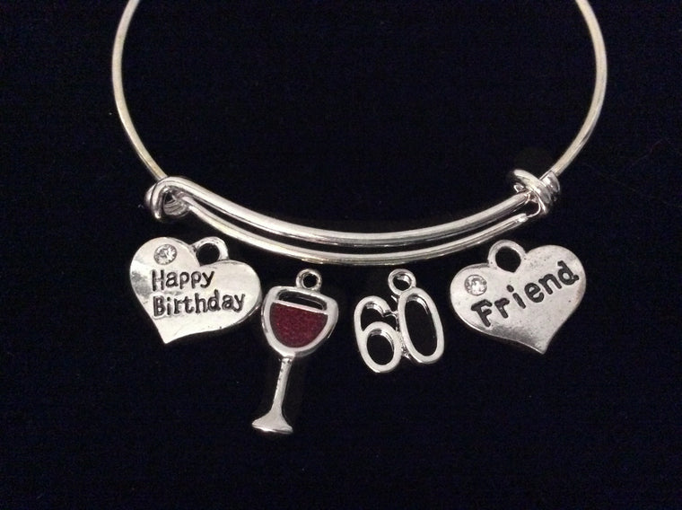 Happy Birthday Friend 60th Expandable Charm Bracelet Silver Adjustable Bangle Gift