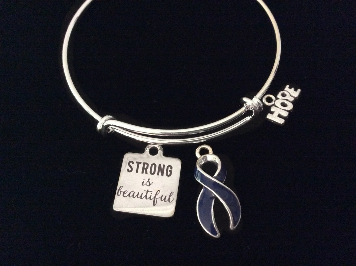 Blue Awareness Expandable Charm Bracelet Strong Is Beautiful Adjustable Bangle Gift Arthritis Colon Cancer Hope