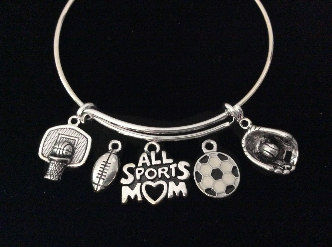 All Sports Mom Adjustable Bracelet Football Baseball Basketball Soccer Expandable Bangle Gift