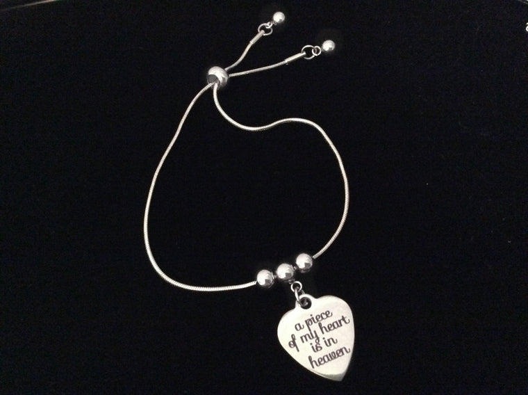 A piece of My Heart is in Heaven Bolo Bracelet Stainless Steel Adjustable Bracelet Gift Message Charm Bracelet