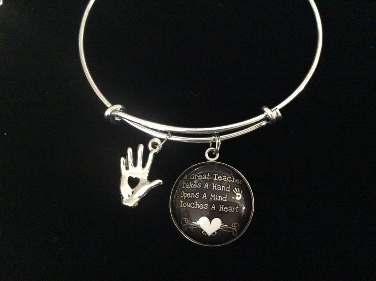 A Teacher Takes a Hand Touches a Heart Adjustable Bracelet Expandable Silver Charm Bracelet Bangle Gift Trendy School Teacher Gift