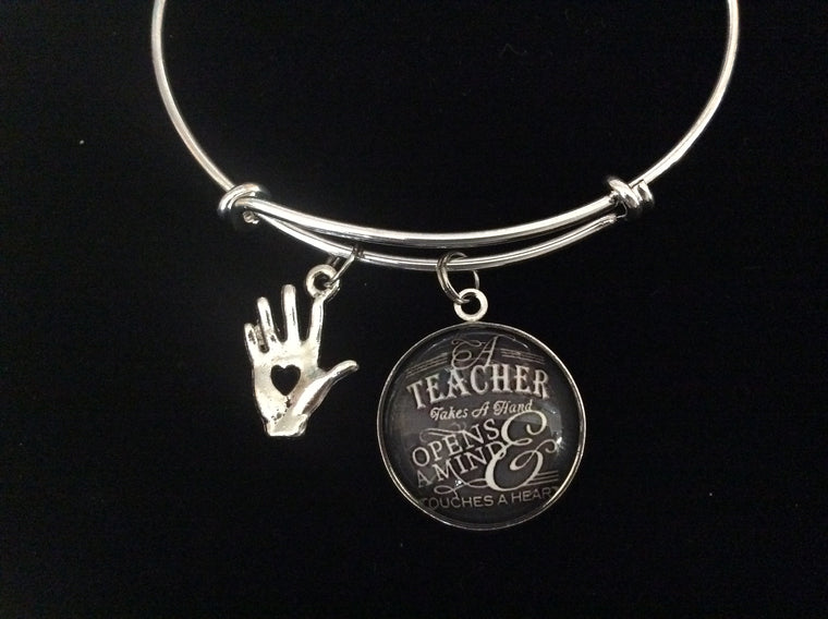 A Teacher Takes a Hand Adjustable Bracelet Expandable Silver Charm Bracelet Bangle Gift Trendy School Teacher Gift