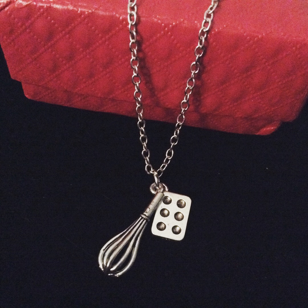 Whisk Necklace Cupcake Pan Chef Jewelry Culinary Kitchen Baking Charm Pendant Cook Gift