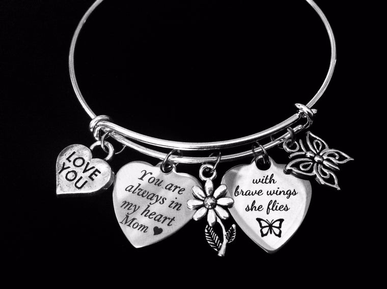 You Are Always in My Heart Mom Adjustable Bracelet Expandable Silver Charm Bangle Gift With Brave Wings She Flies