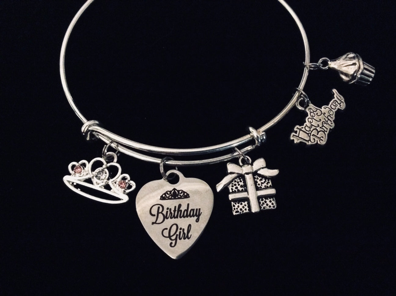 a4ef31f34eef1 Happy Birthday Girl Expandable Charm Bracelet Silver Adjustable Bangle  Trendy One Size Fits All Gift Princess Tiara Present Cupcake