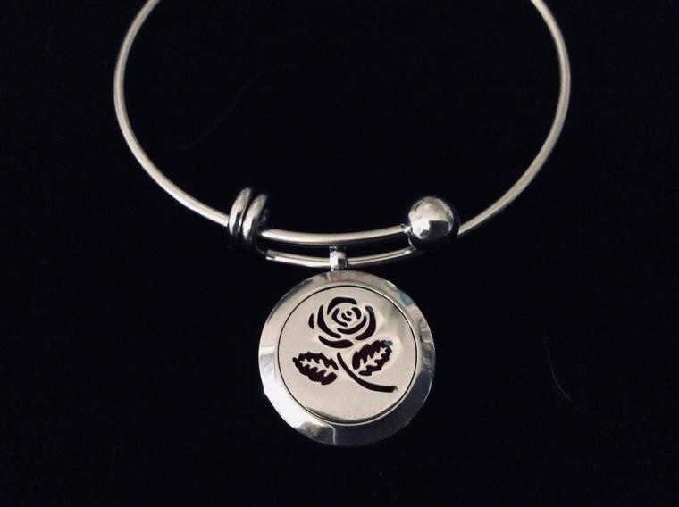 Aromatherapy Jewelry Rose Essential Oil Locket Diffuser Expandable Adjustable Bracelet Stainless Steel Bangle Gift
