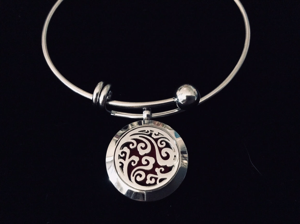 Aromatherapy Jewelry Essential Oil Locket Diffuser Expandable Adjustable Bracelet Stainless Steel Bangle Gift