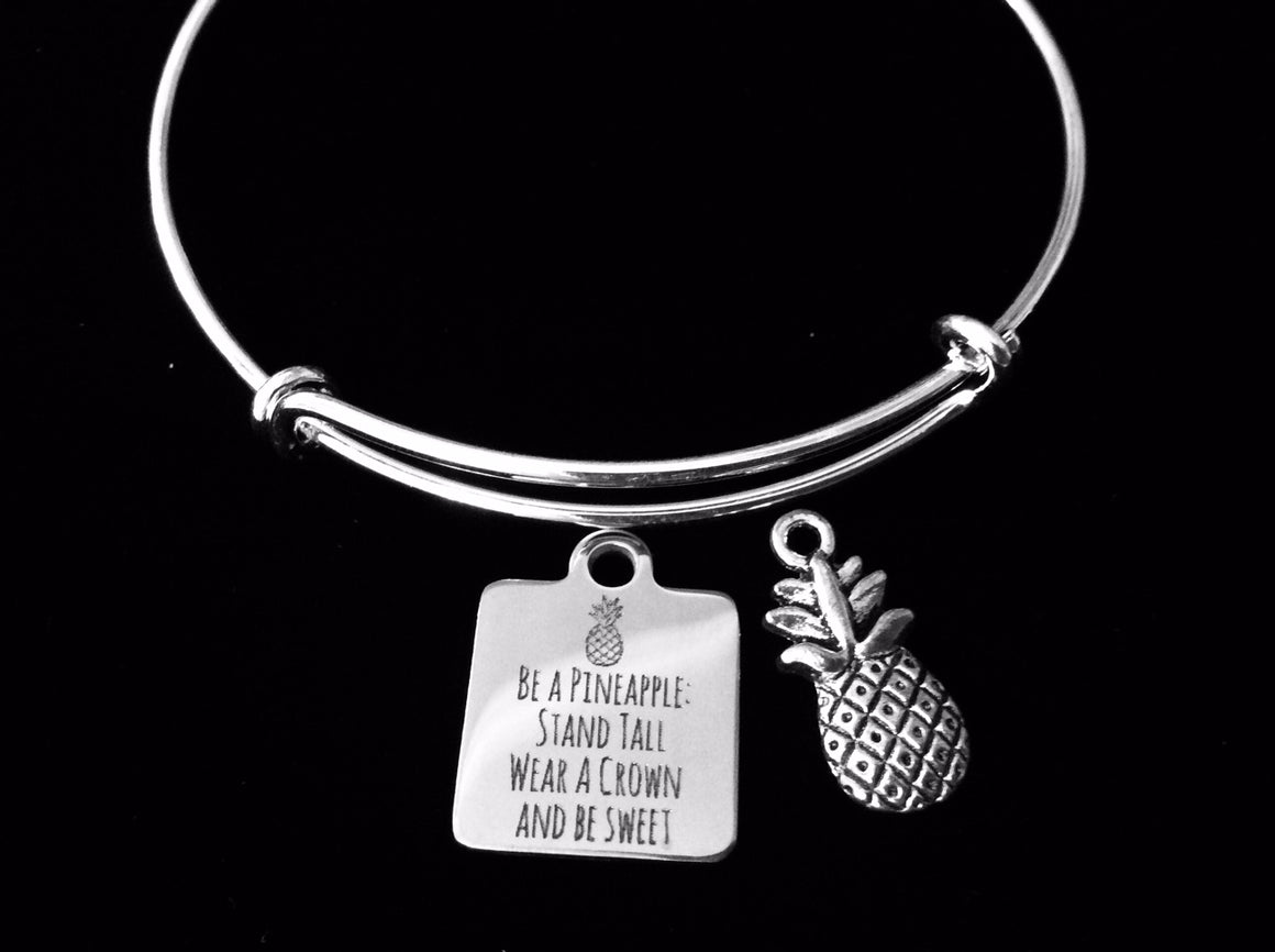 Be A Pineapple Jewelry Adjustable Bracelet Sweet Crown Stand Tall Expandable Bangle Inspirational Encouragement Jewelry Graduation Gift