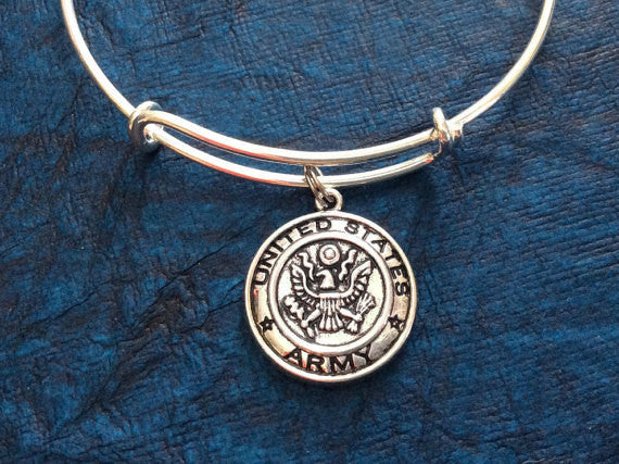Army Token Charm on Expandable Silver Bracelet