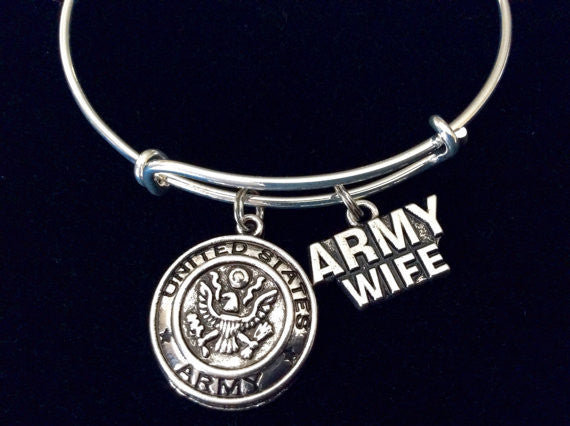 Army Wife Expandable Charm Bracelet Adjustable Expandable Wire Bangle