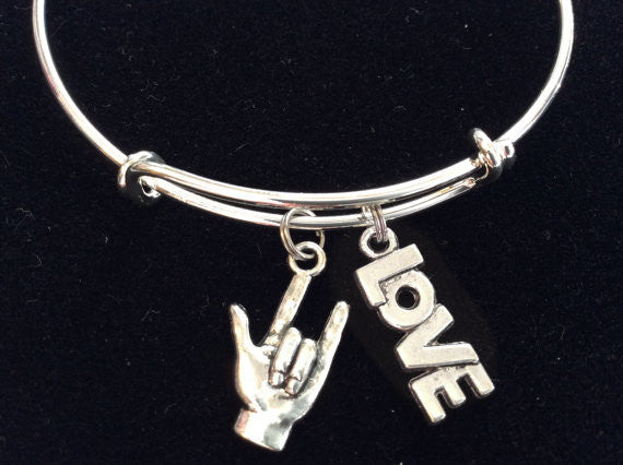 ASL American Sign Language and Love Charm on Expandable Adjustable Wire Bangle