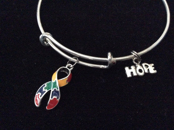 Autism Puzzle Awareness Ribbon Expandable Charm Bracelet Adjustable Wire Bangle