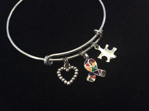 Autism Silver Puzzle Piece Awareness Ribbon Expandable Charm Bracelet