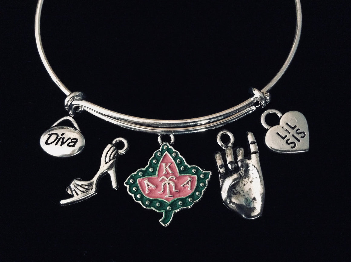 Alpha Kappa Alpha Diva AKA Sorority Adjustable Charm Bracelet Expandable Silver Wire Bangle Ivy Pinky Sisters Gift One Size Fits All