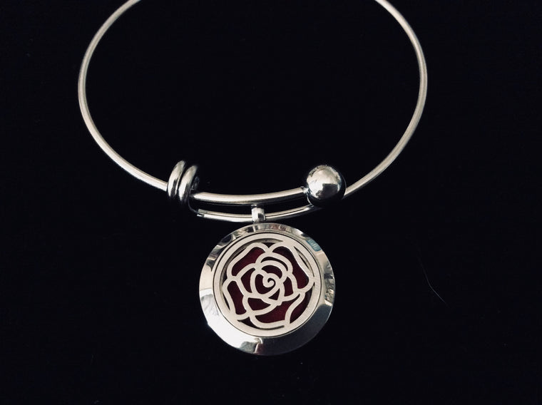 Aromatherapy Jewelry Blooming Flower Essential Oil Locket Diffuser Expandable Adjustable Bracelet Stainless Steel Bangle Gift