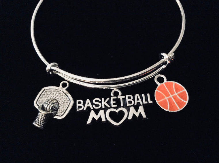 Basketball Mom Jewelry Expandable Silver Charm Bracelet Adjustable Wire Bangle One Size Fits All Gift Trendy Basketball Hoop
