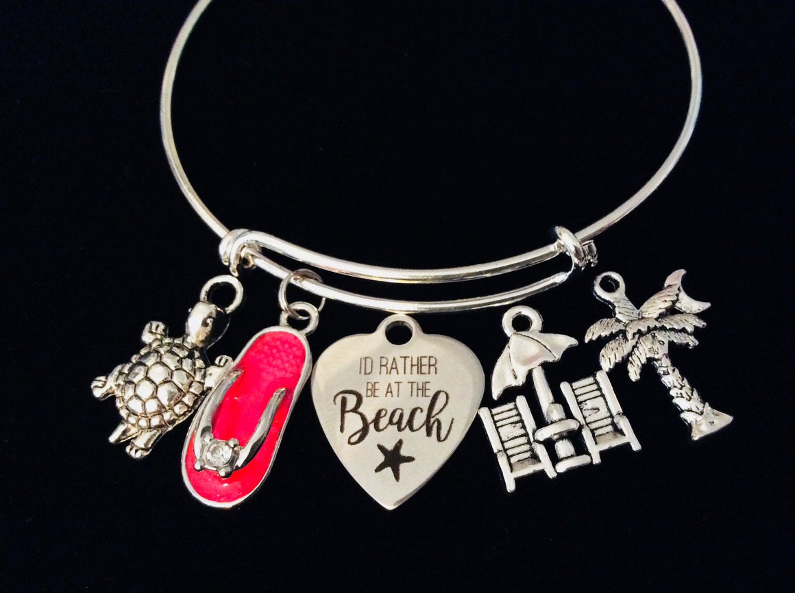 May You Always Have a Shell in Your Pocket and Sand Between Your Toes Nautical Jewelry Expandable Charm Bracelet Lighthouse One Size Fits All Gift Flip Flop Anchor Personalization Options Available