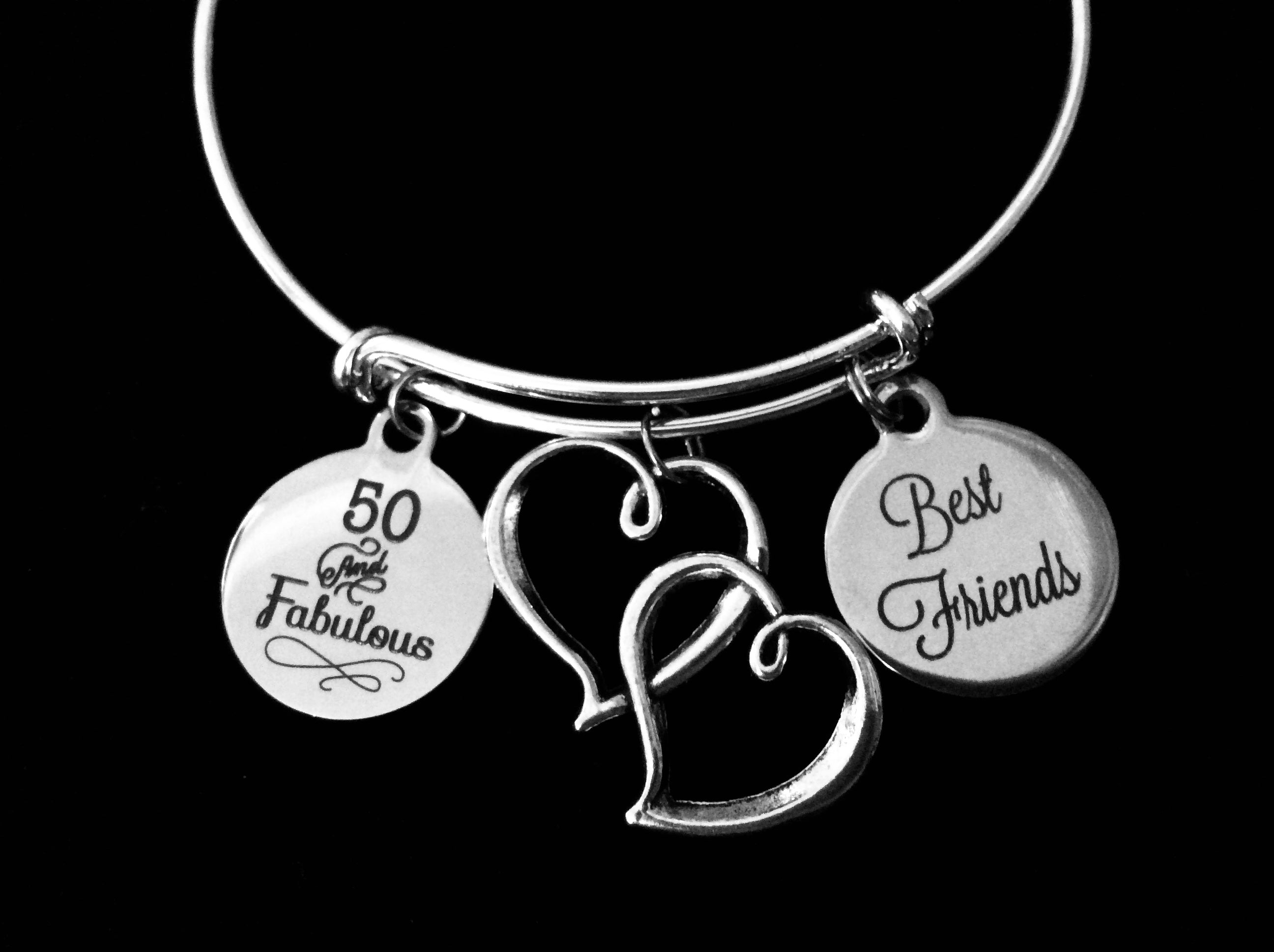 Best Friends Fabulous And Fifty 50th Birthday Jewelry Adjustable Charm