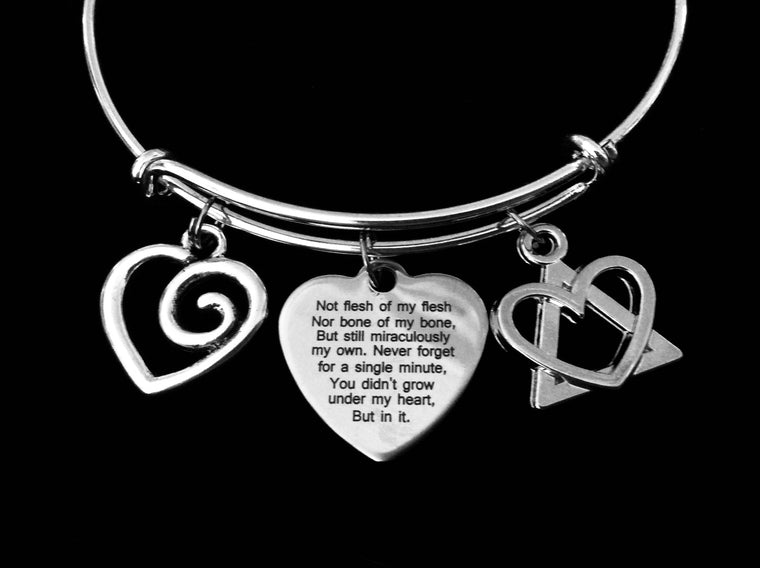 Adoption Poem Jewelry Expandable Charm Bracelet Silver Adjustable Bangle One Size Fits All Gift Adopt
