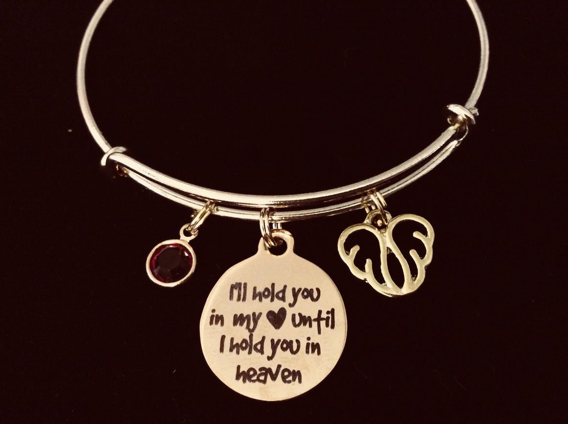 Gold A Piece of My Heart is in Heaven Expandable Charm Bracelet Adjustable Wire Bangle Gift