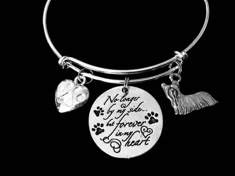 Yorkshire Terrier Yorkie Maltese Shih Tzu Toy Dog Memorial Jewelry No Longer By My Side but Forever in My Heart Adjustable Bracelet Silver Expandable Charm Bangle Animal Lover One Size Fits All Gift Paw Print