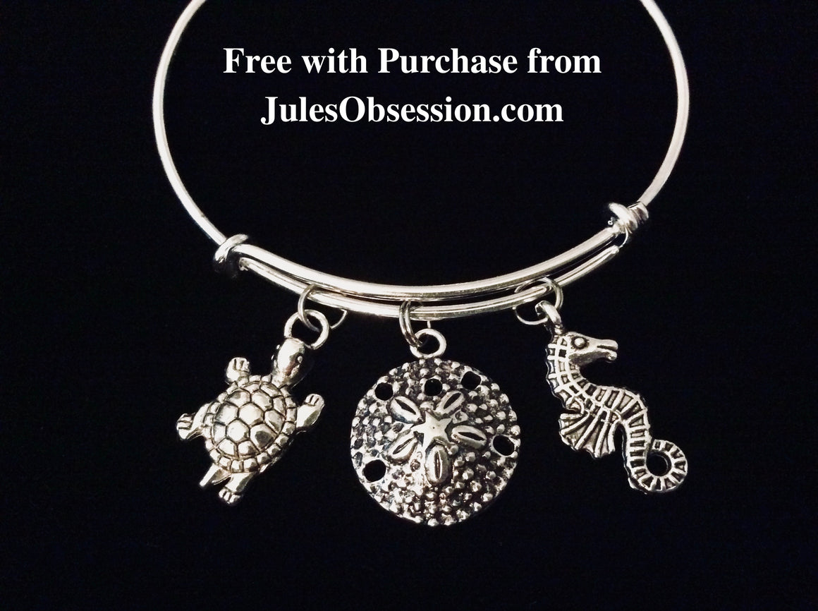 1 FREE Nautical Beach Sea Turtle Sand Dollar Sea Horse Expandable Bracelet One Size Fits All Jewelry Free Giveaway Promotion Freebie Free with Purchase from Jules Obsession