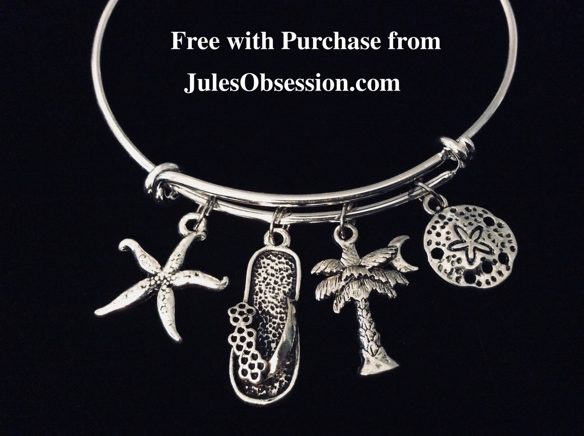 1 FREE Nautical Beach Expandable Bracelet One Size Fits All Jewelry Free Giveaway Promotion Freebie Free with Purchase from Jules Obsession Sand Dollar Starfish Palm Tree Flip Flop