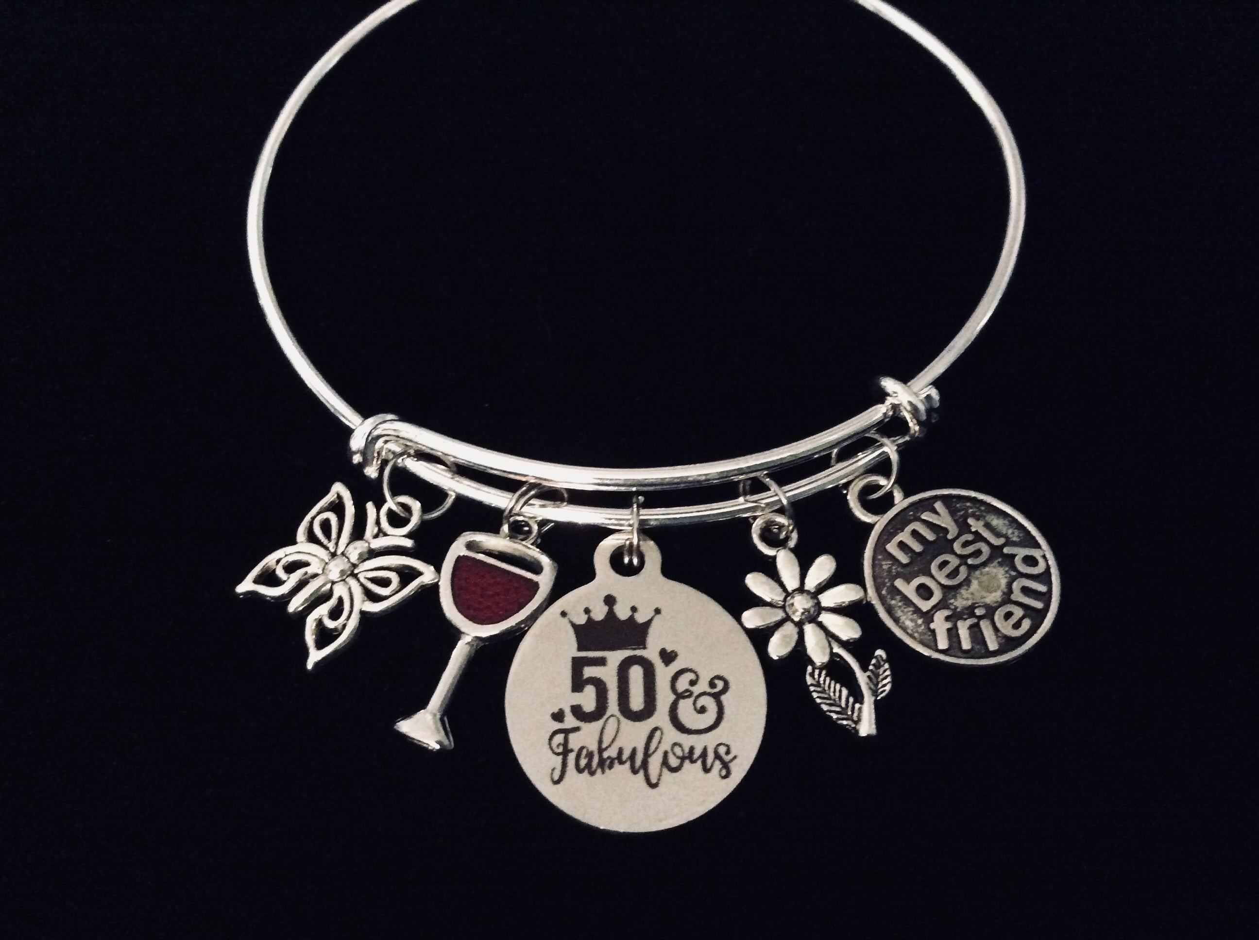 My Best Friend Fifty And Fabulous 50th Birthday Jewelry Adjustable Charm Bracelet Silver Expandable Bangle One