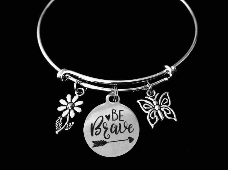 Be Brave Adjustable Charm Bracelet Expandable Silver Bangle Inspirational One Size Fits All Gift Daisy Butterfly