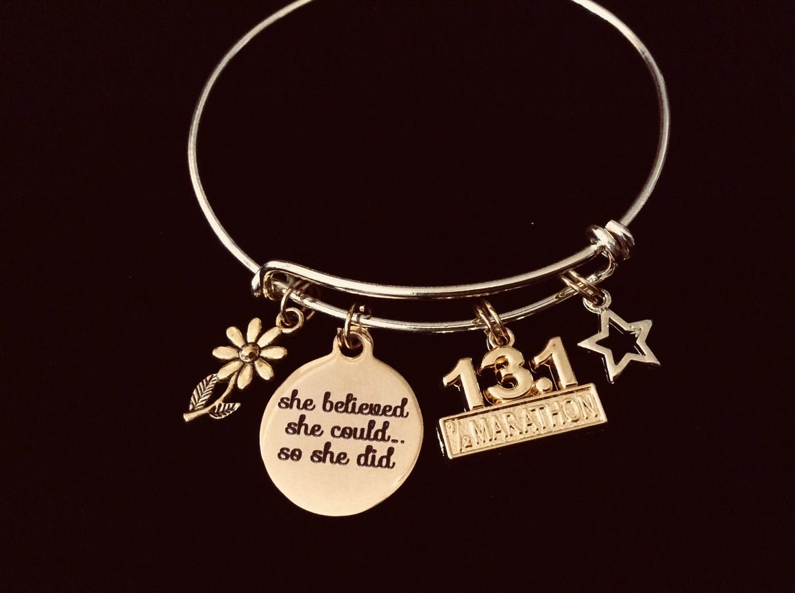 13.1 Marathon Runner Jewelry She Believed She Could So She Did Expandable Charm Bracelet Adjustable Bangle One Size Fits All Gift