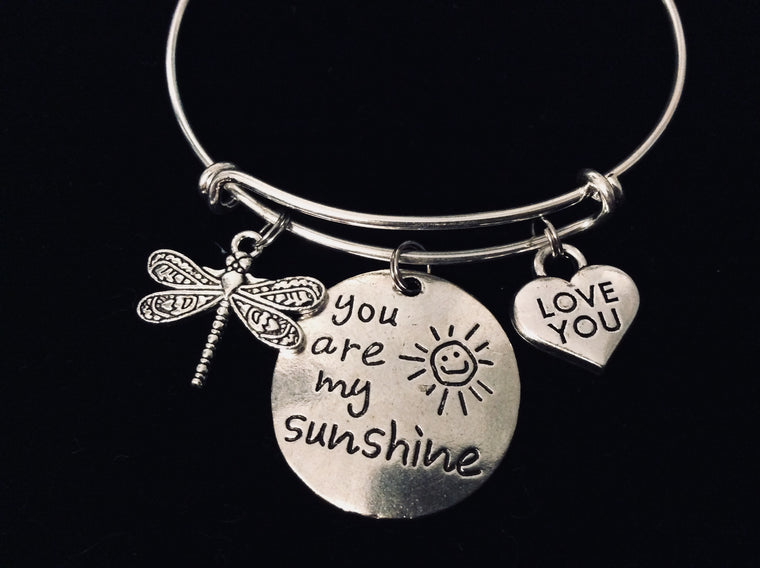 You are My Sunshine Expandable Silver Charm Bracelet Adjustable Wire Bangle Dragonfly Love You Jewelry One Size Fits All Gift