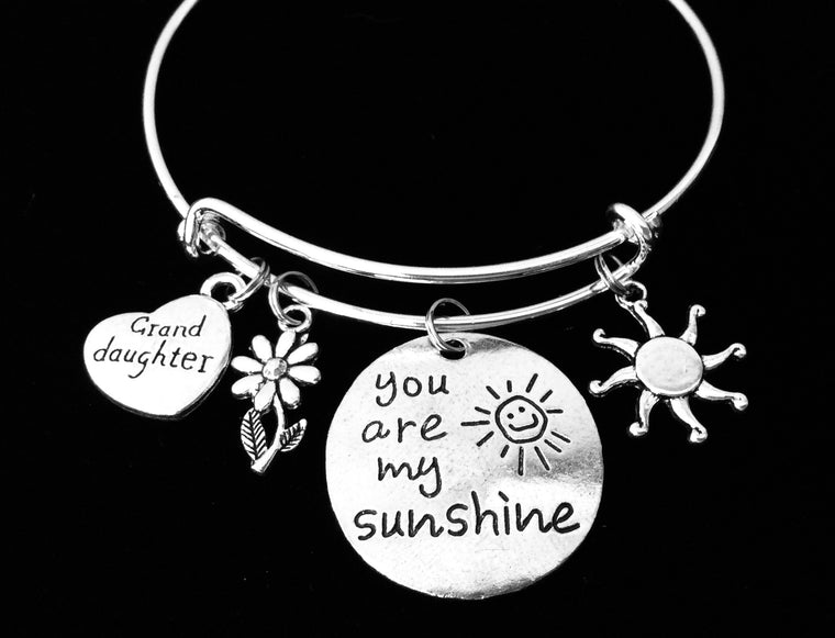 You Are My Sunshine Charm Bracelet Granddaughter Silver Adjustable Expandable Wire Bangle One Size Fits All Gift Daisy Sun