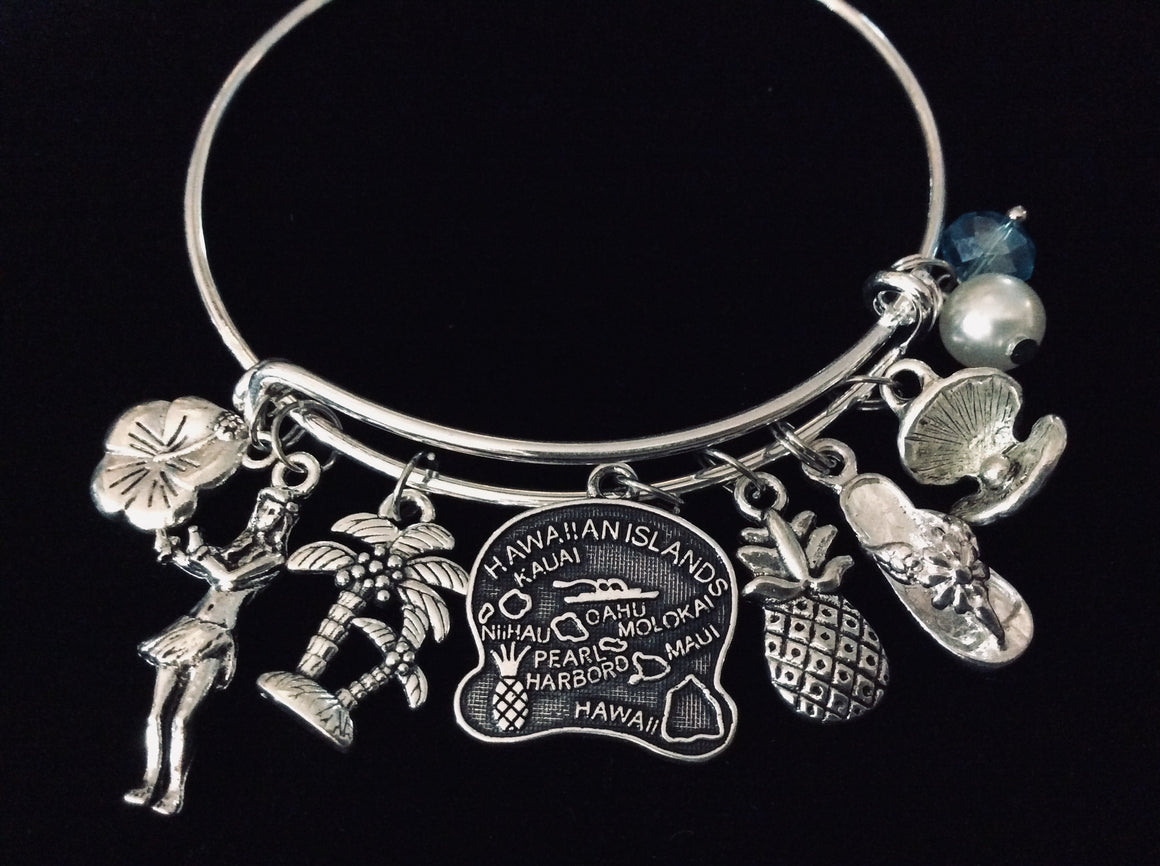 Hawaii Expandable Charm Bracelet Adjustable Bangle Silver Hibiscus Palm Tree Hula Girl Flip Flop Pineapple One Size Fits All Gift Hawaiian Vacation Jewelry
