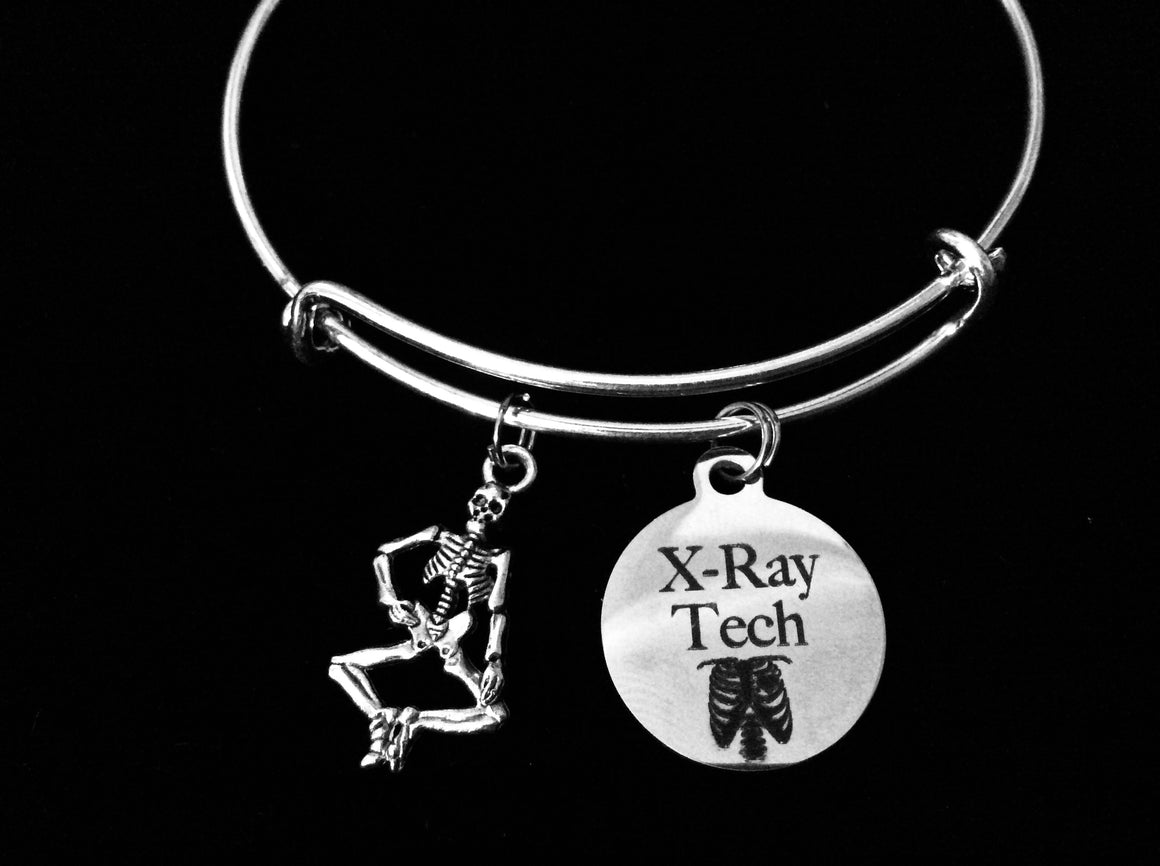 X-Ray Tech Jewelry Skeleton Adjustable Charm Bracelet Expandable Silver Bangle One Size Fits All Gift Medical