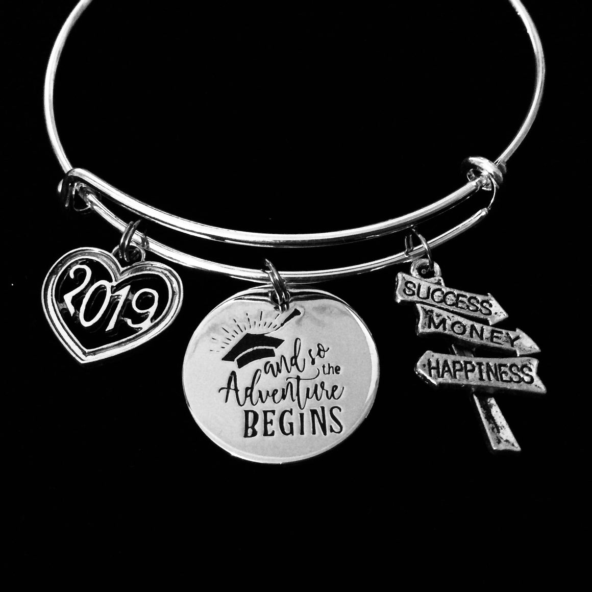 2019 Graduation Expandable Charm Bracelet So The Adventure Begins Silver Adjustable Bangle One Size Fits All Gift