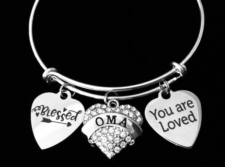 You are Loved Oma Jewelry Blessed Expandable Charm Bracelet Silver Adjustable Bangle One Size Fits All Gift Bling Crystal Heart