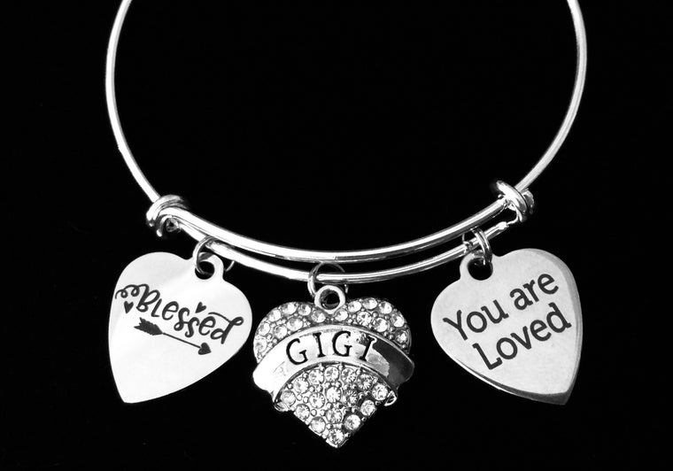 You are Loved Gigi Jewelry Blessed Expandable Charm Bracelet Silver Adjustable Bangle One Size Fits All Gift Bling Crystal Heart