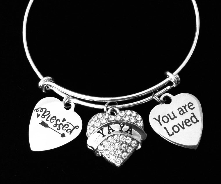 You are Loved Yaya Jewelry Blessed Expandable Charm Bracelet Silver Adjustable Bangle One Size Fits All Gift Bling Crystal Heart