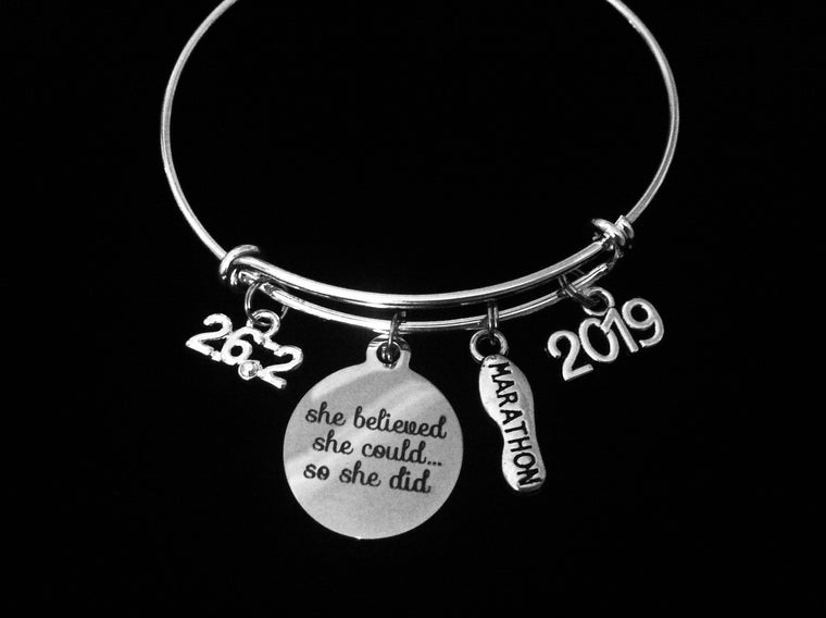 26.2 Marathon Adjustable Bracelet Expandable Silver Charm Bangle Trendy Race Runner Gift Year Charm