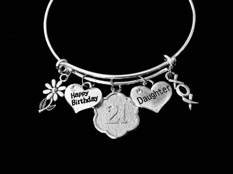 XOXO Happy 21st Birthday Daughter Expandable Charm Bracelet 21 Birthday Silver Adjustable Wire Bangle One Size Fits All Gift Birthday Jewelry