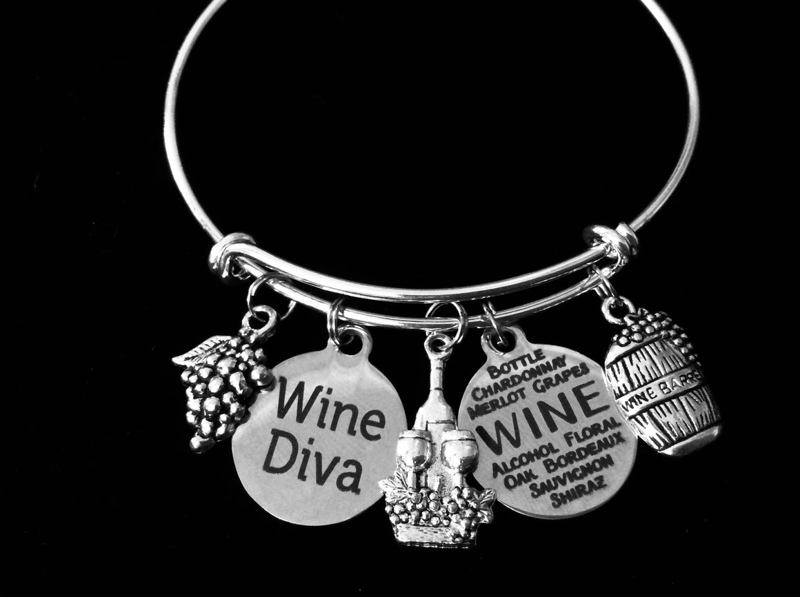 Wine Diva Expandable Charm Bracelet Wine Country Trip Jewelry Silver Adjustable Bangle Wine Lover One Size Fits All Gift Wine Bottle Grapes Wine Barrel