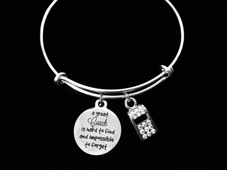 A Great Coach Is Hard to Find and Impossible to Forget Sports Crystal Coach Whistle Adjustable Charm Bracelet Silver Expandable Bangle One Size Fits All Gift