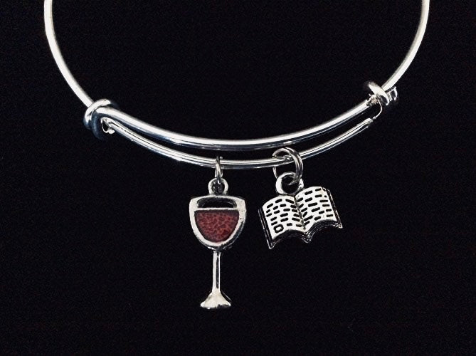Wine and a Good Book Expandable Charm Bracelet Adjustable Bangle Birthday Gift Book Club Gift