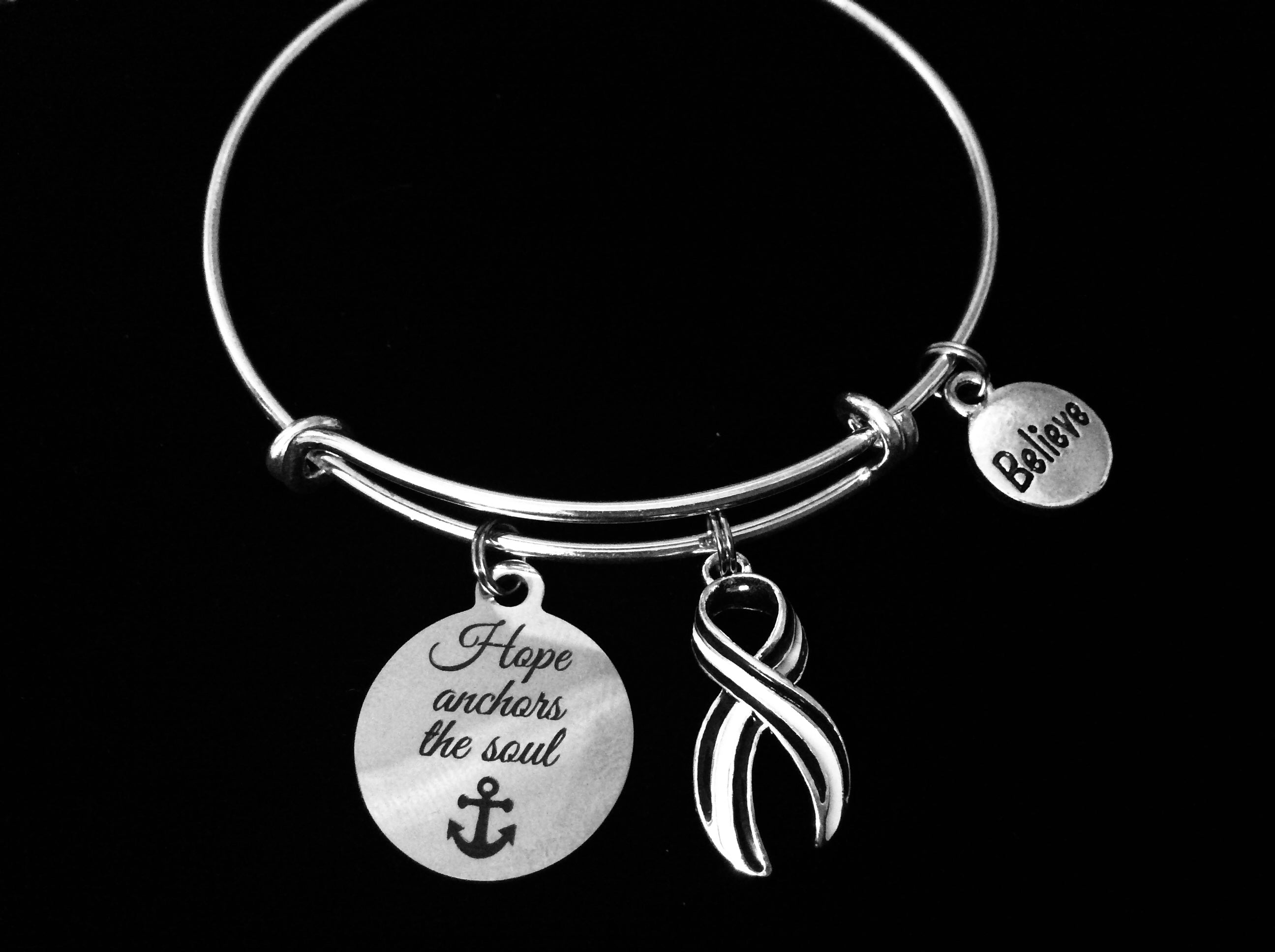 ALS bracelet Lou Gehrig's Disease Charm Bracelet Navy and White Awareness  Ribbon Silver Expandable Adjustable Bangle One Size Fits All Gift